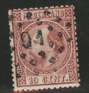 Netherlands Scott 8 used 1867 stamp perf 14