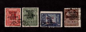 Italy - Rhodes - 1943 - SC B3-B6 - Used - Knight, Crusader, Tomb - Semi-Postal