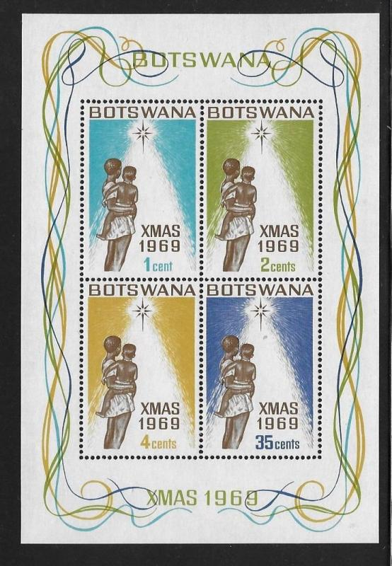 Botswana 1969 Christmas Mother Child and Star of Bethlehem S/S MNH