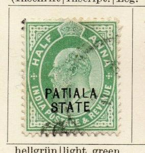 Patiala 1907 Early Issue Fine Used 1/2a. Optd 320092