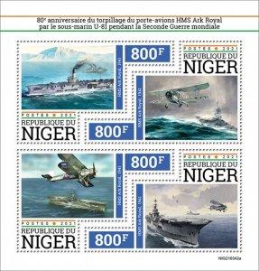 NIGER - 2021 - HMS Ark Royal - Perf 4v Sheet - Mint Never Hinged