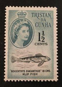 Tristan Da Cunha Scott 30 QEII Klip Fish One and Half Cent-Mint NH