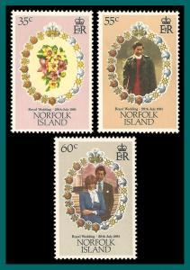 Norfolk Islands MNH 280-2 Royal Wedding Diana 1981