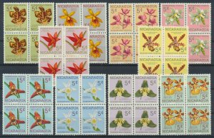 [I748] Nicaragua 1962  Flowers good set in bloc of 4 stamps very fine MNH