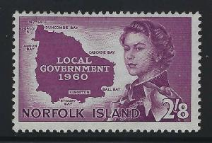 Norfolk Island 1960 2/8 Local Government Sc# 42 mint