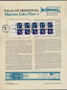 Palau 76b Booket pane on Souvenir Page - Marine Life, Fish, Shell