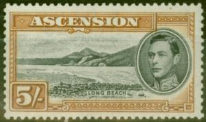Ascension 1944 5s Black & Yellow-Brown SG46a P.13 V.F Lightly Mtd Mint