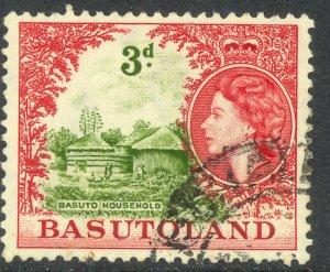 BASUTOLAND 1954 QE2 3d BASUTO HOUSEHOLD Pictorial Sc 49 VFU