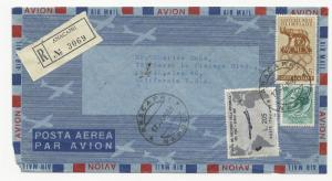 Italy Scott #834 Tied on Aerogram Registered Cover 1961