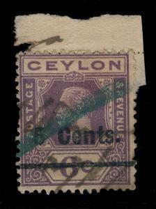 CEYLON - 1926  - SG 362 5c on 6c VIOLET Fiscally Used on fragment