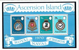 Ascension Is 137a MNH 1970 Royal Naval Crests S/S