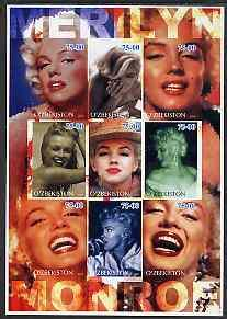 Uzbekistan 2002 Marilyn Monroe #1 imperf sheetlet contain...