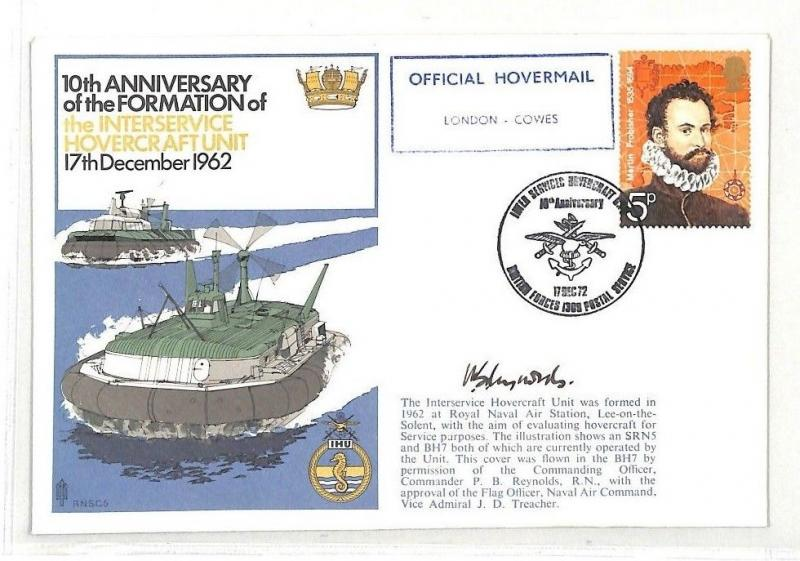 GB London Cowes Hovercraft Unit Signed Anniversary Cover PTS 1962 BK137