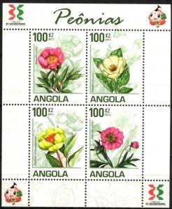 Angola 2011 Flowers Peonies Sheet of 4 MNH
