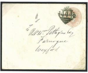J60d 1878 GB IRELAND 1d Pink Stationery Warrenpoint (Co. Down) '444' Numeral W