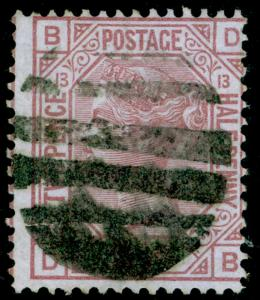 SG141, 2½d rosy mauve PLATE 13, USED. Cat £80. DB