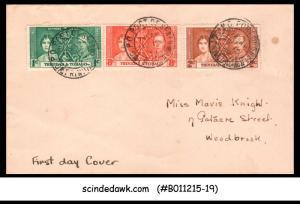 TRINIDAD AND TOBAGO - 1937 KING GEORGE VI CORONATION - 3V - FDC