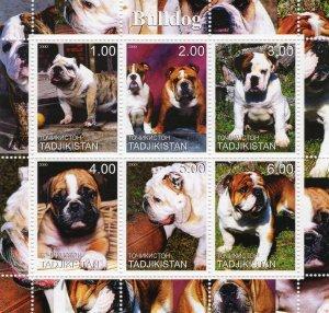 Tajikistan 2000 DOGS -  BULLDOG    Sheetlet (6)  MNH