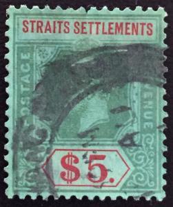 Malaya  Straits Settlements 1926 KGV $5 Used MSCA Die II SG240a M1762