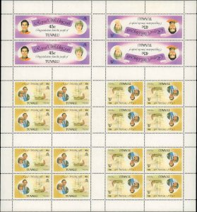 Tuvalu #157a, 160a, Complete  Set, Booklet Sheetlet, 1981, Royalty, Never Hinged