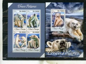 ST.THOMAS & PRINCE ISLANDS 2013 WILD ANIMALS/BEARS SHEET OF 4 STAMPS & S/S MNH