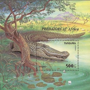 Tanzania - 1995 Alligators Predators of Africa - Stamp Souvenir Sheet - Scott