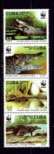 Cuba 4342-45 MNH 2003 Crocodiles strip of 4 (been folded)