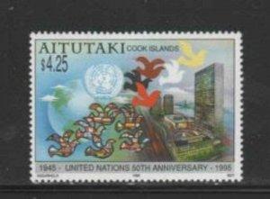 AITUTAKI #512 1995 U.N 50TH ANNIV MINT VF NH O.G