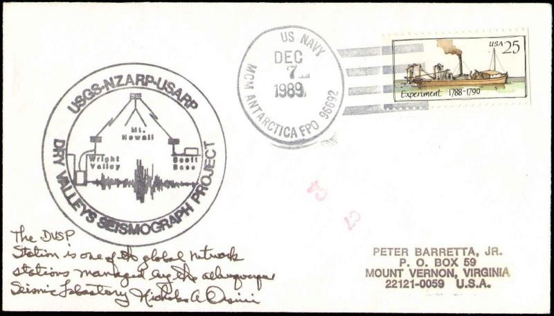 1989 US NAVY ANTARCTIC DRY VALLEY CACHET + NOTE + SIGNED