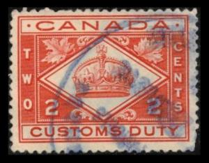 CANADA REVENUE 1914 VINTAGE 2c #FCD2 SCARCE CUSTOMS DUTY TAX VF USED STAMP (V787