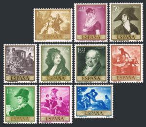 Spain 867-876,hinged.Michel 1107-1116. Francisco Jose de Goya paintings,1958.
