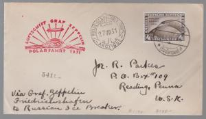 1931 Germany Graf Zeppelin Polar Flight LZ 127 # C42 Icebreaker Malyguin Cover