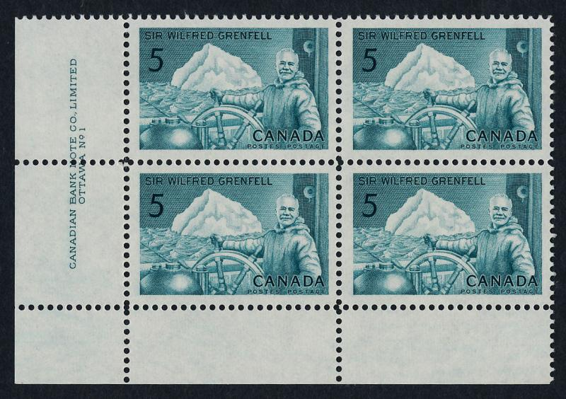 Canada 438 BL Plate Block MNH Sir Wilfred Grenfell, Ship