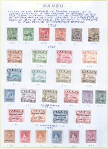 NAURU 1916-1937 SCV $137.85 STARTS @ 30% OF CAT VALUE