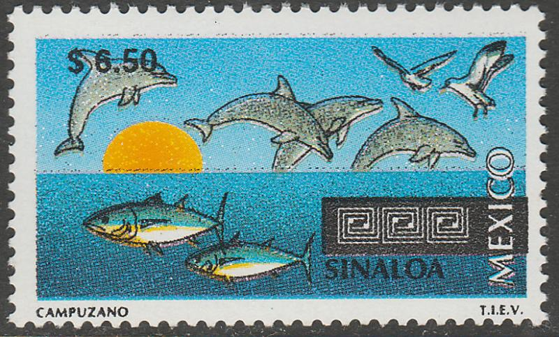 MEXICO 1978 $6.50 Tourism Colima, dolphins, tuna. Mint, Never Hinged F-VF.
