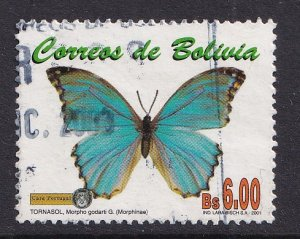 Bolivia   #1148  used   2002  butterflies 6b