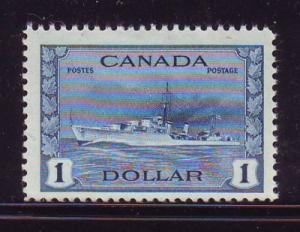 Canada Sc 262 1942 $1 destroyer stamp mint NH