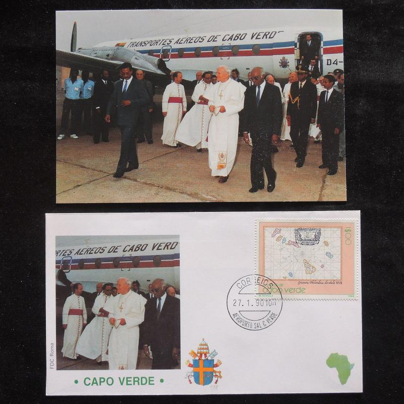 ZS-S433 CAPE VERDE IND - John Paul II, Visit To Africa, W/Photo, 1990 Cover