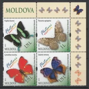 Moldova 2013 Butterflies 4 MNH stamps