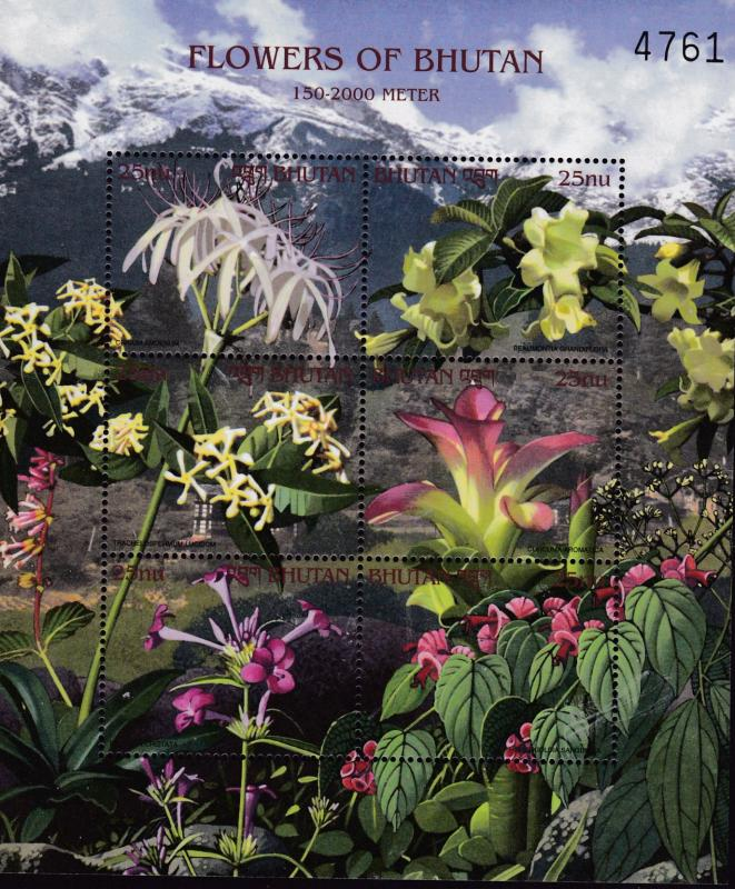 Bhutan 2000 FLOWERS Complete (6) 3 sheets of 6 + 3 Souvenir Sheets  VF/NH