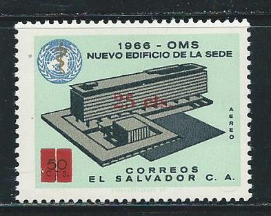 Salvador C322 1974 WHO Headquarters surcharge single MNH