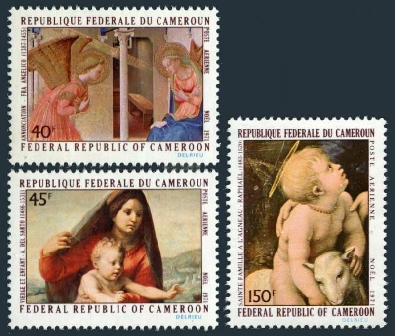 Cameroun C178-C180,MNH.Michel 675-677. Christmas 1971.Fra Angelico,Sarto,Raphael