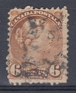 Canada Scott #39 6 cent yellow brown Small Queen HCV