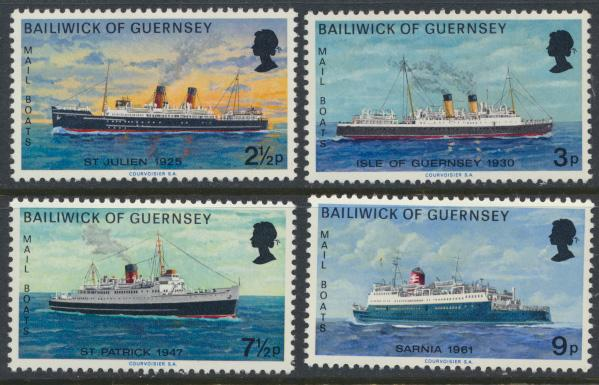 Guernsey  SG 80-83  SC# 77-80 MLH Mail Packet Boats 2nd series see details