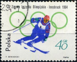 POLAND / POLEN - 1964 Mi.1459A 45gr Winter Olympics (Downhill) - VF Used (a)