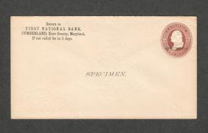 US Sc#u277 Specimen Entire Postal Stationery Cover