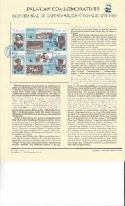 Palau Commemoratives Panel, Captain Wilson's Voyage, Koror, FDC 1983