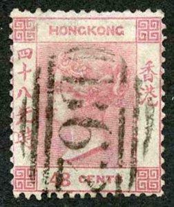 Hong Kong SG17 1863 48c pale-rose wmk crown CC