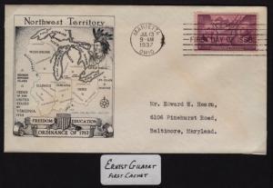 1937 Ordinance of 1787  Sc 795-55 1st Gilbert cachet CV $40