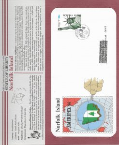 Statue of Liberty Norfolk Island. #384. 1986  FDC with write up.